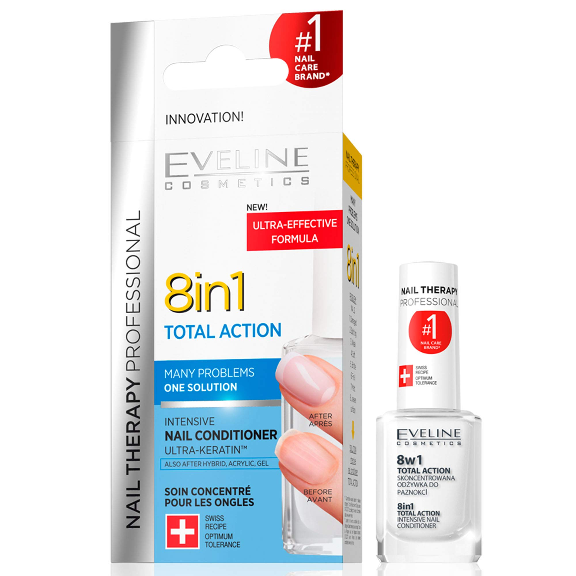 Eveline Cosmetics Nail Therapy Professional 8in1 Total Action | 12 ML | Concentrated Conditioner Strengthener Hardener | Growth Activator | Repair Treatment | Easy Application