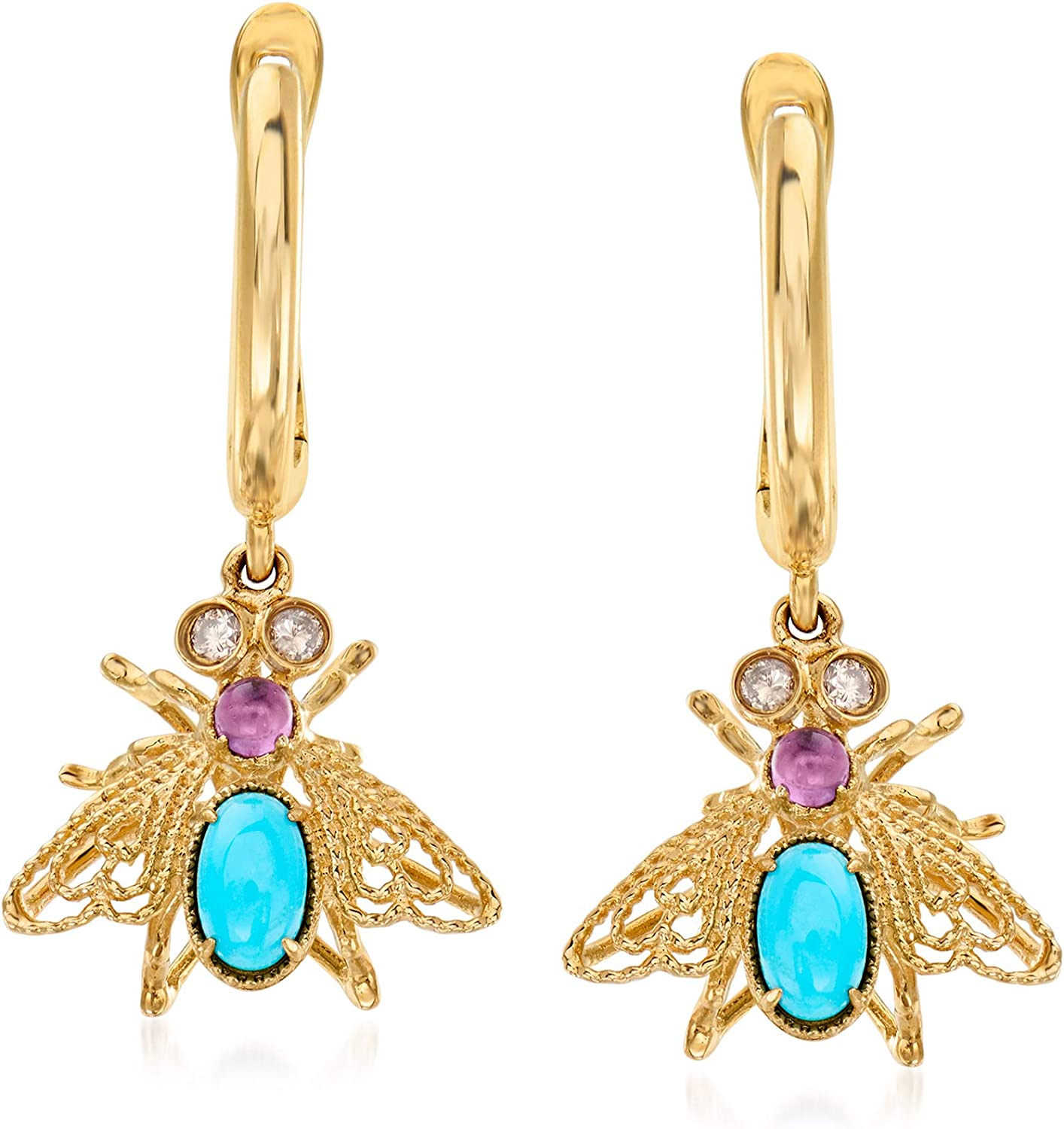 Amazon Com Ross Simons Turquoise And 10 Ct T W Amethyst Bee Drop Earrings With Brown Diamond Accents In 14kt Yellow Gold Jewelry