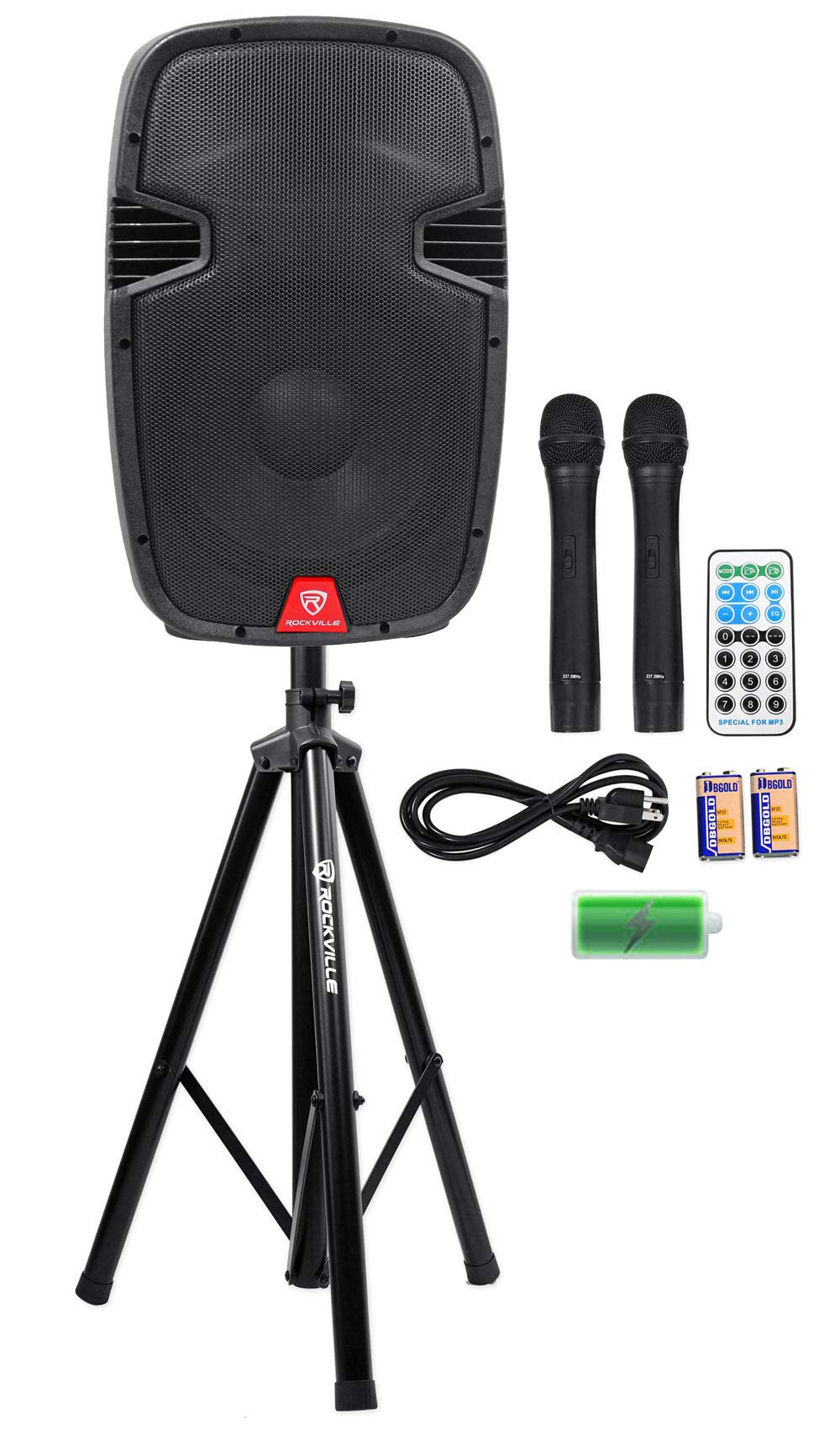 Rockville RAM12BT 12'' Rechargeable Powered 600W PA Speaker+2 Mics+Bluetooth+Stand by Rockville