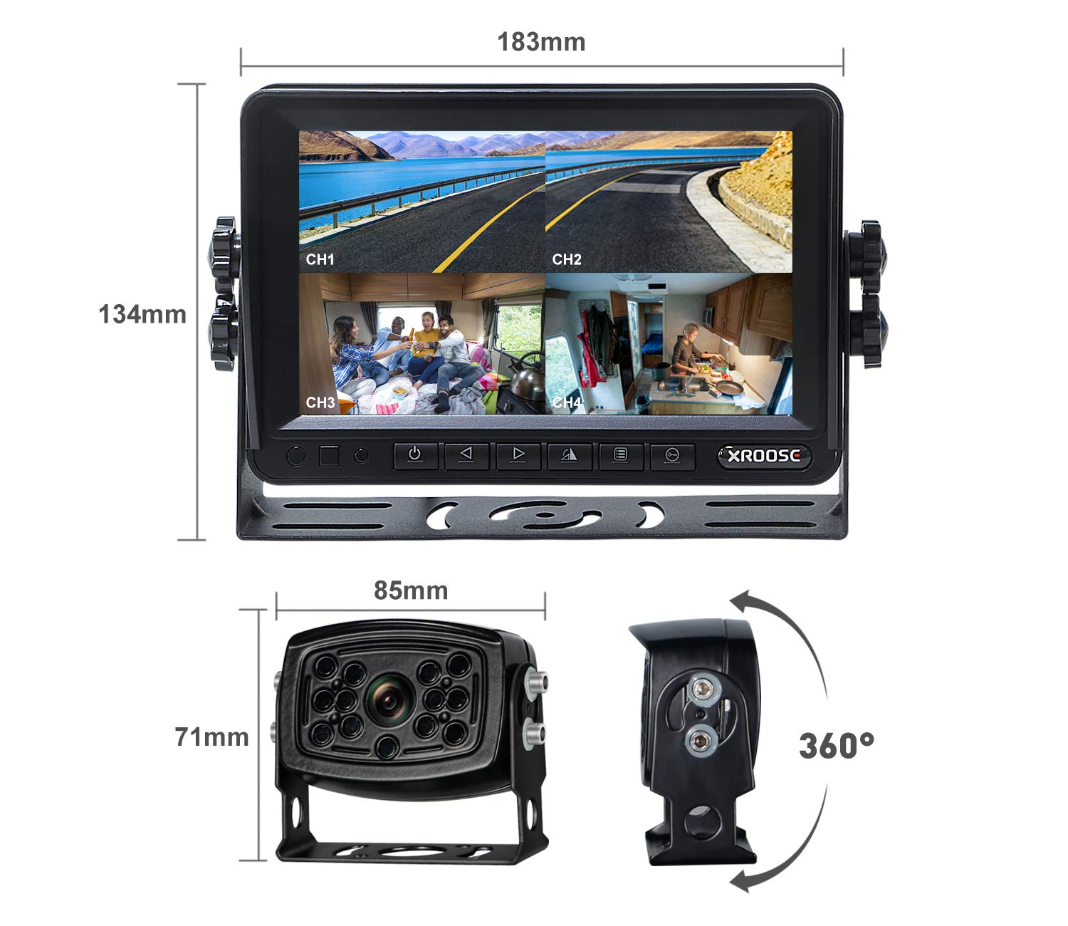 Wireless Backup Camera with Monitor System Split Screen for RV Rearview Reversing Back Camera No Interface IP69 Waterproof + Big 7'' Wireless Monitor for Truck Trailer Heavy Box Truck Motorhome ... by Xroose (Image #2)