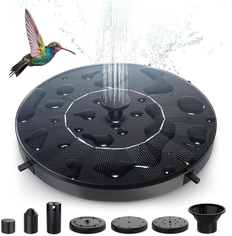 Ihoomee Solar Fountain Pump, Free-standing Floating Birdbath Pump with 6 Nozzles , for Pond, Pool, Garden, Outdoor, Bird Bath, Fish Tank and Lawn (1W)