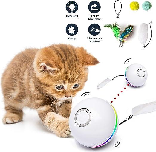 Fairwin Juguetes para Gatos Pelotas, Bolas de Gato Juguete interactivas para Gatos con Luces LED y Juguetes con Hierba Gatera para Gatos de Interior, Rotación Automática de 360 Grados y Carga USB: