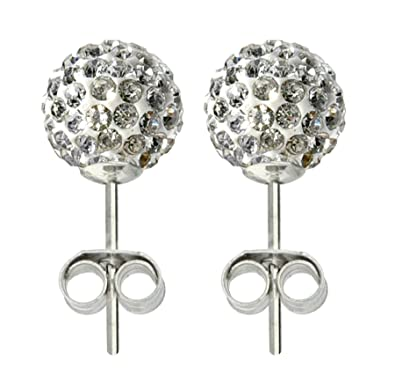 best quality for up-to-datestyling dependable performance Caits-Pandora Silver crystal 8MM clear shamballa crystal,Silver Swarovski  crystal Disco Ball earrings