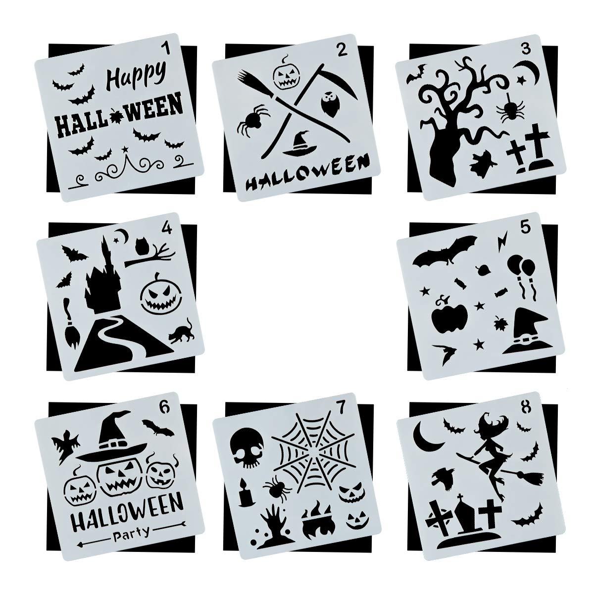 Halloween DIY Decorative Stencils Set of 8 Pack for Painting on Wood, Craft Cards Making, Human Body Painting, Home Decor Homtable