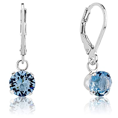 DTPSilver - 925 Sterling Silver and Swarovski Crystal Elements Round Dangle Leverback Earrings - Colour : Tanzanite P7BUvI0