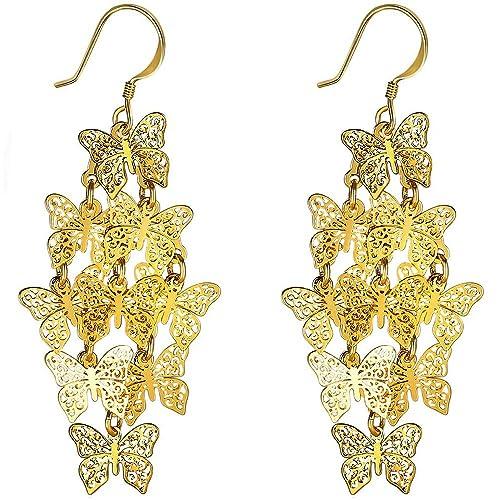 aa341b5fb XZP Filigree Earrings Dangling Chandelier Jewelry Tiered Butterfly Earrings  for Women (Gold tone)