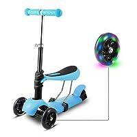 WeSkate 3-in-1 Kleinkinder Kinder Roller Scooter | 3 Räder Mini Kinderscooter Kinderroller mit Abnehmbarem Sitz, Leuchtrollen und Verstellbare Lenker für Jungen Mädchen ab 2 Jahre, Maximales 50 kg