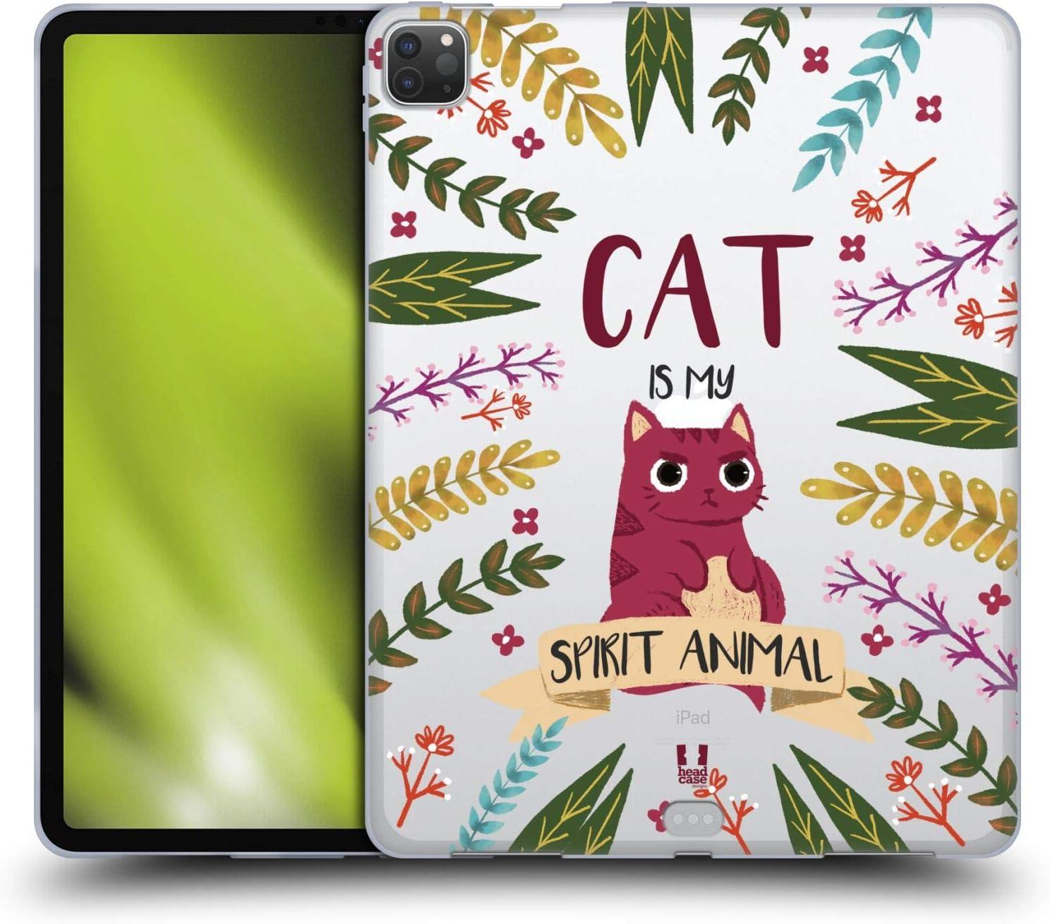 Head Case Designs Cat Spirit Animal Illustrations Soft Gel Case Compatible with Apple iPad Pro 12.9 (2020 / 2021)