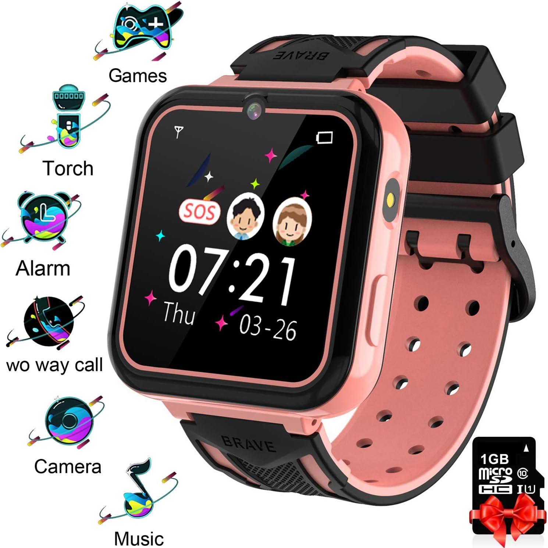 Reloj Inteligente para Niños Pink, Smart Watch con Reproductor de MúSica SOS Linterna Cámara 7 Juegos Y Reproductor de MúSica, Reloj de Pulsera Digital para Niños De 3-12 Años [Tarjeta SD Incluida]