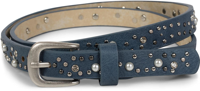 b5b24ed994c55f kürzbar Vintage Nietengürtel Damen 03010086 styleBREAKER schmaler Gürtel  mit Nieten Perlen und Strass
