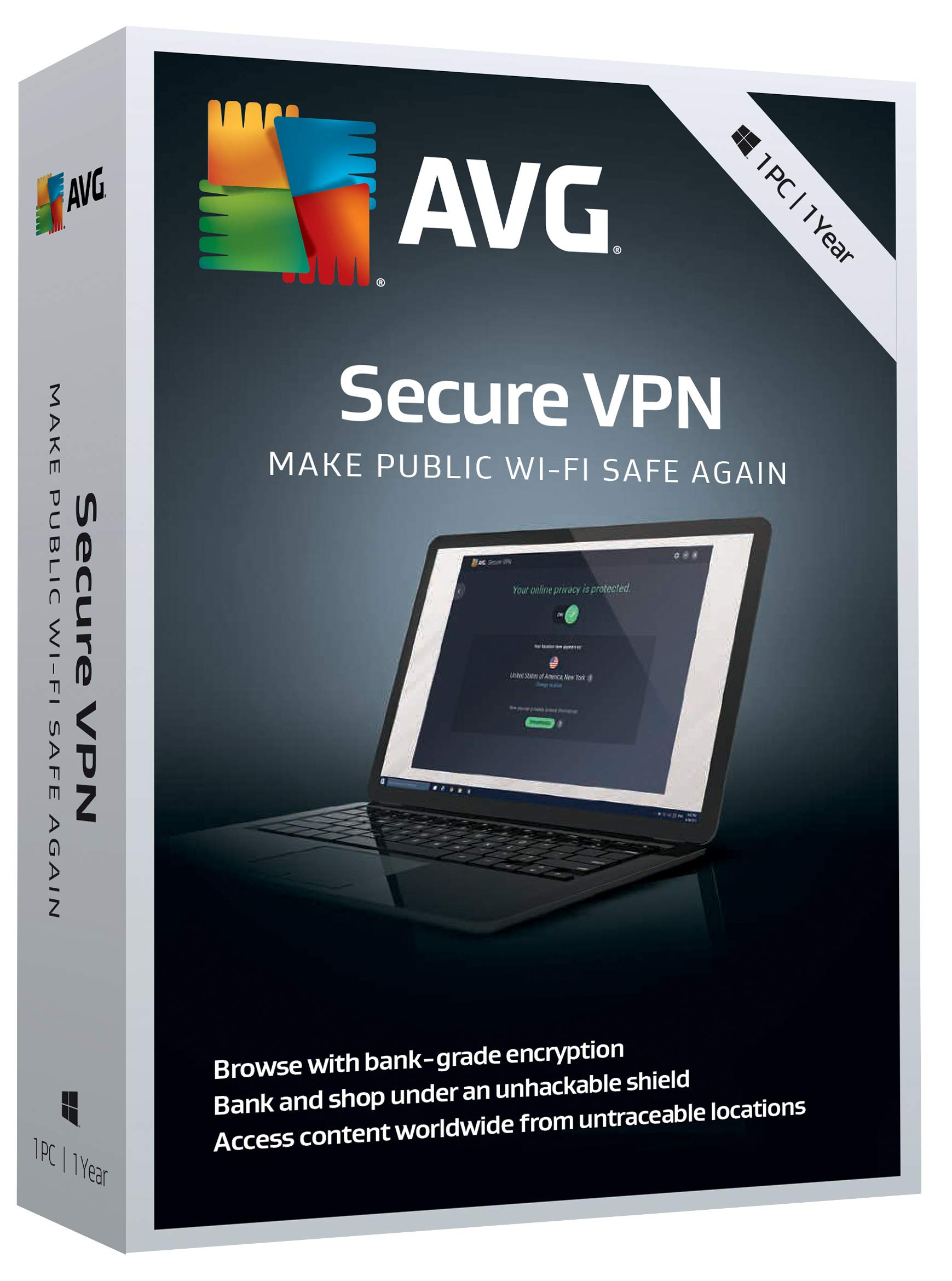 AVG Secure VPN, 1 PC 1 Year  [Key Card] by AVG Technologies