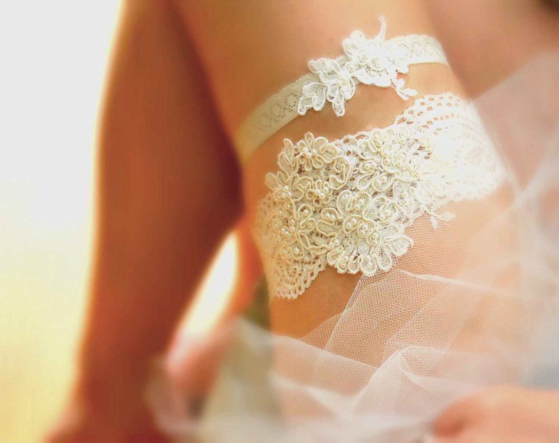 Wedding Garter Set Bridal Garter Set Grace Style 10529 White Wedding  Alencon Lace Garter Floral Lace Garter