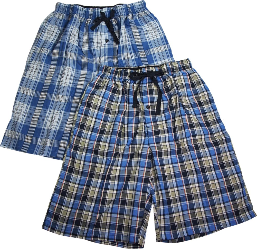 Hanes Mens 2 Pack Cotton Blend Woven Plaid Lounge Pajama Sleep Short, Navy, Blue 40238-Small