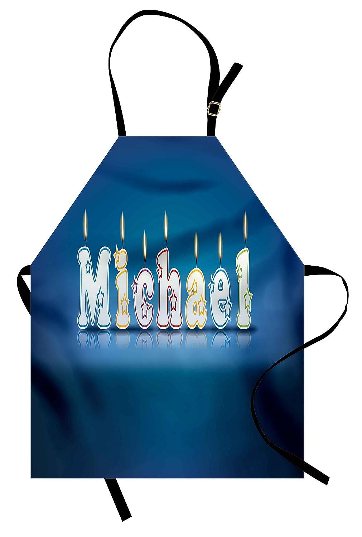 マイケルエプロンby Ambesonne、キッズ男の子名の文字デザイン、おいしい誕生日パーティーケーキデコレーション、ユニセックスキッチン調節可能なネックよだれかけエプロンfor Cooking Bakingガーデニング、ブルー、マルチカラー   B07B64KZXT