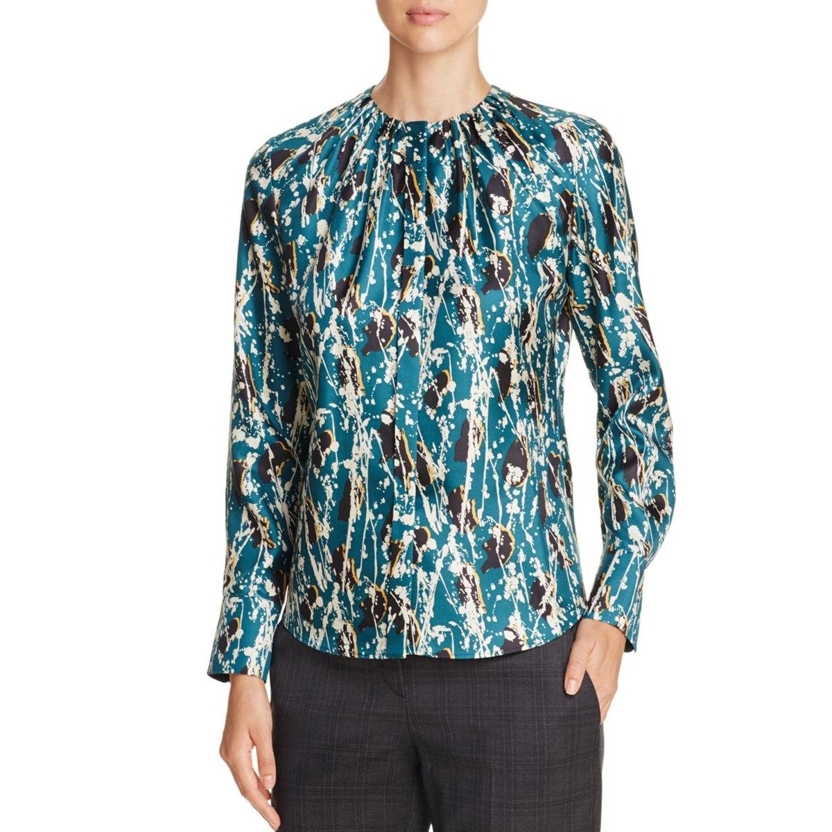 BOSS Hugo Boss Womens Silk Printed Blouse Multi 10