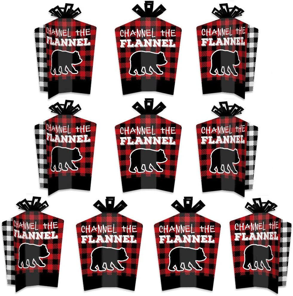 Big Dot of Happiness Lumberjack - Channel the Flannel - Table Decorations - Buffalo Plaid Party Fold and Flare Centerpieces - 10 Count