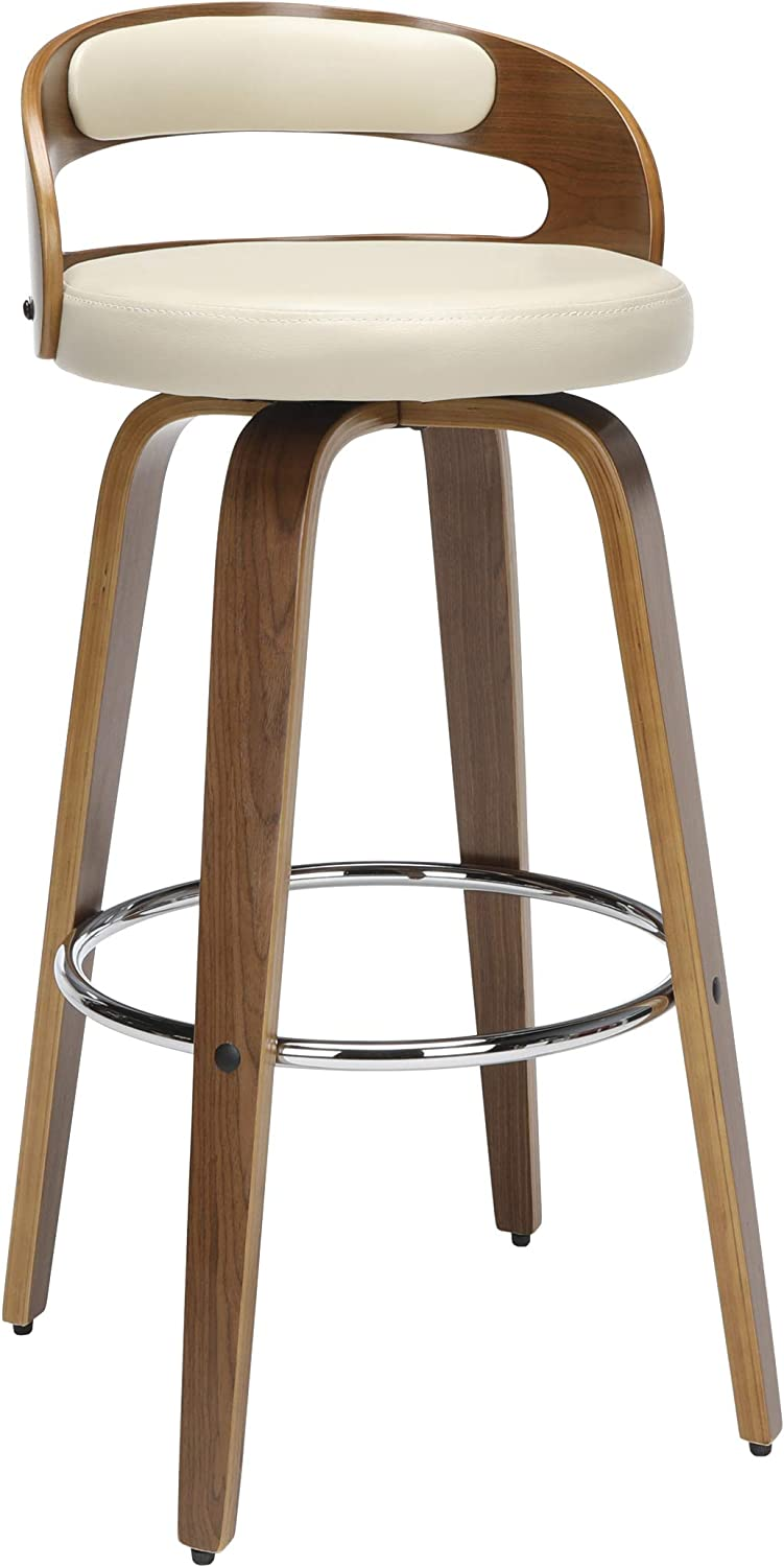 "OFM 161 Collection Mid Century Modern 30"" Low Back Bentwood Frame Swivel Seat Stool with Vinyl Back and Seat Cushion, in Walnut/Ivory"