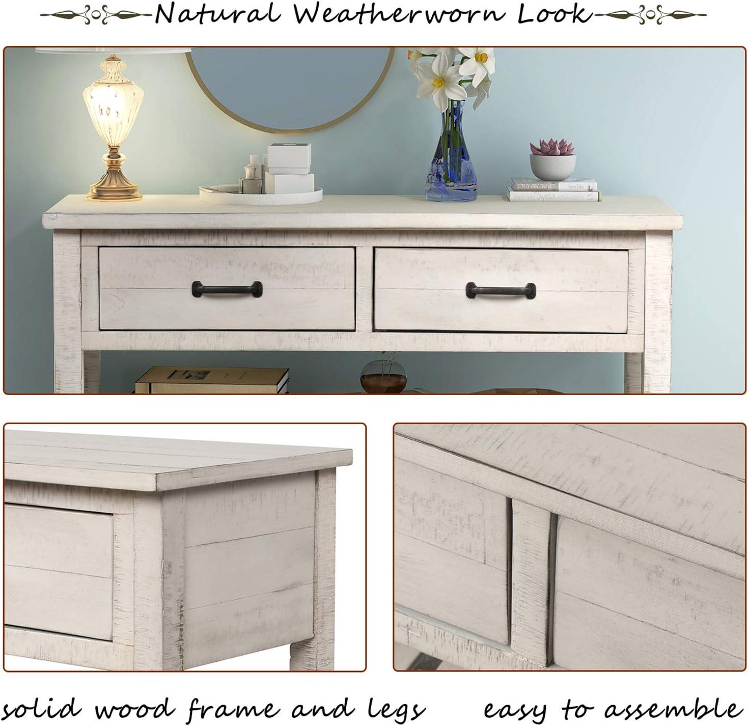 P PURLOVE Console Table Sofa Table with Drawers Console Table for Entryway with Drawers and 2 Tiers Wood Shelf (Retro White)