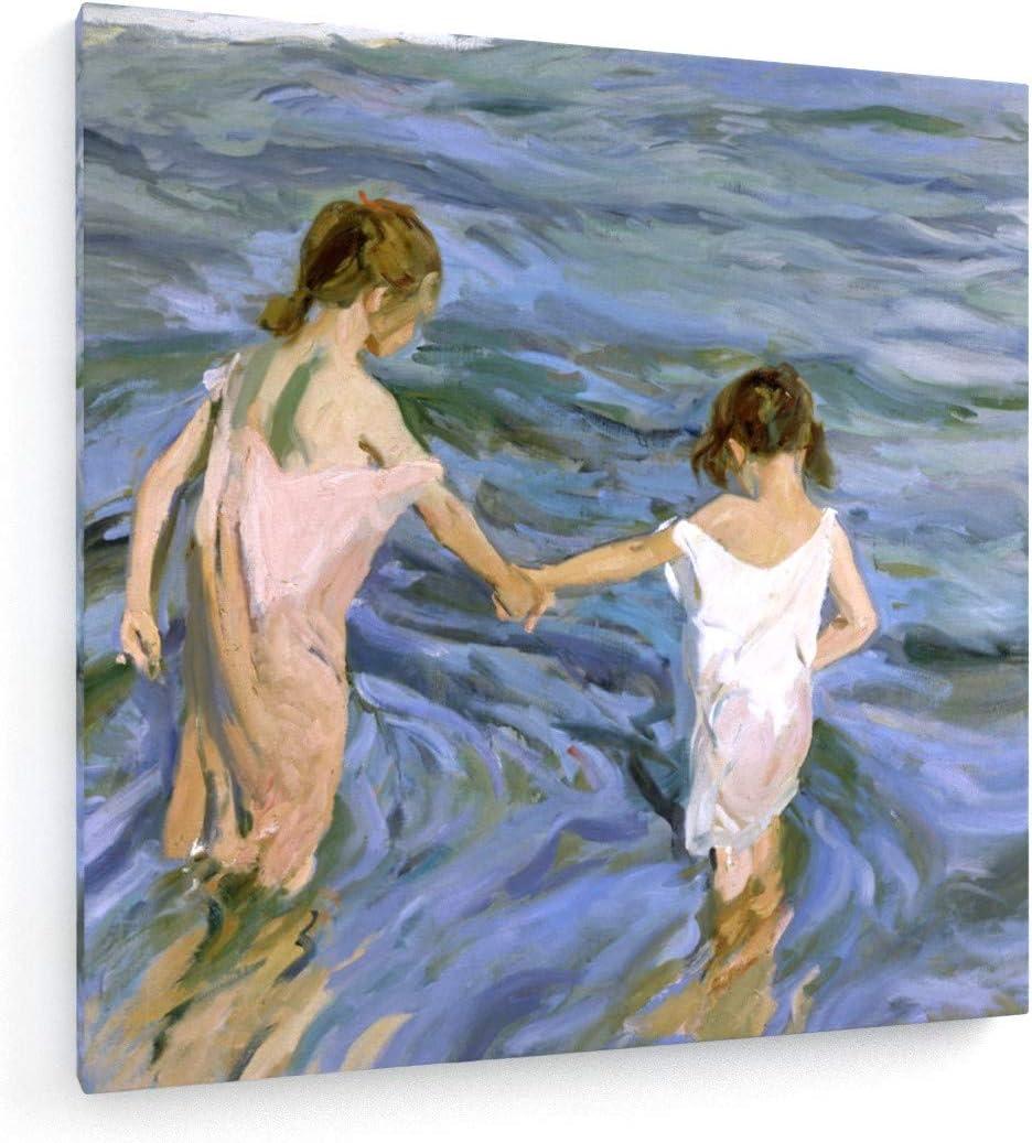 weewado Sorolla y Batista - Niños en el mar - 1909-60x60 cm - Impresion en Lienzo - Muro de Arte - Canvas, Cuadro, Poster - Old Masters/Museum