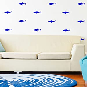 """Set of 21 Vinyl Wall Art Decals - Shark Patterns - 3"""" x 7"""" Each - Cool Adhesive Sticker Shapes for Boys Toddlers Teens Bedroom Playroom Living Room Home Apartment Decorations (3"""" x 7"""", Blue)"""