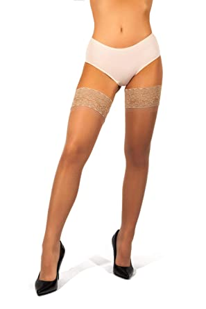 bae81ec5d sofsy Lace Sheer Thigh-High Stockings Pantyhose w Hold-Up Silicone ...