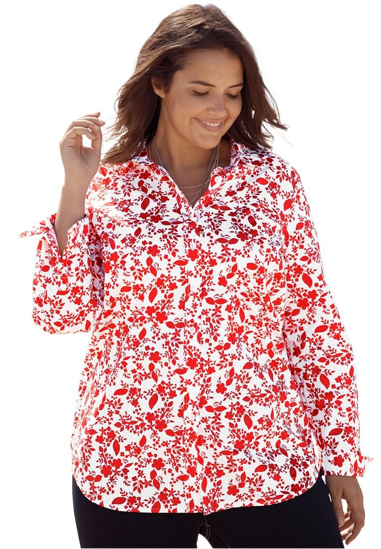 Women's Plus Size Perfect Button Down Shirt Coral Red Vector Floral,1X