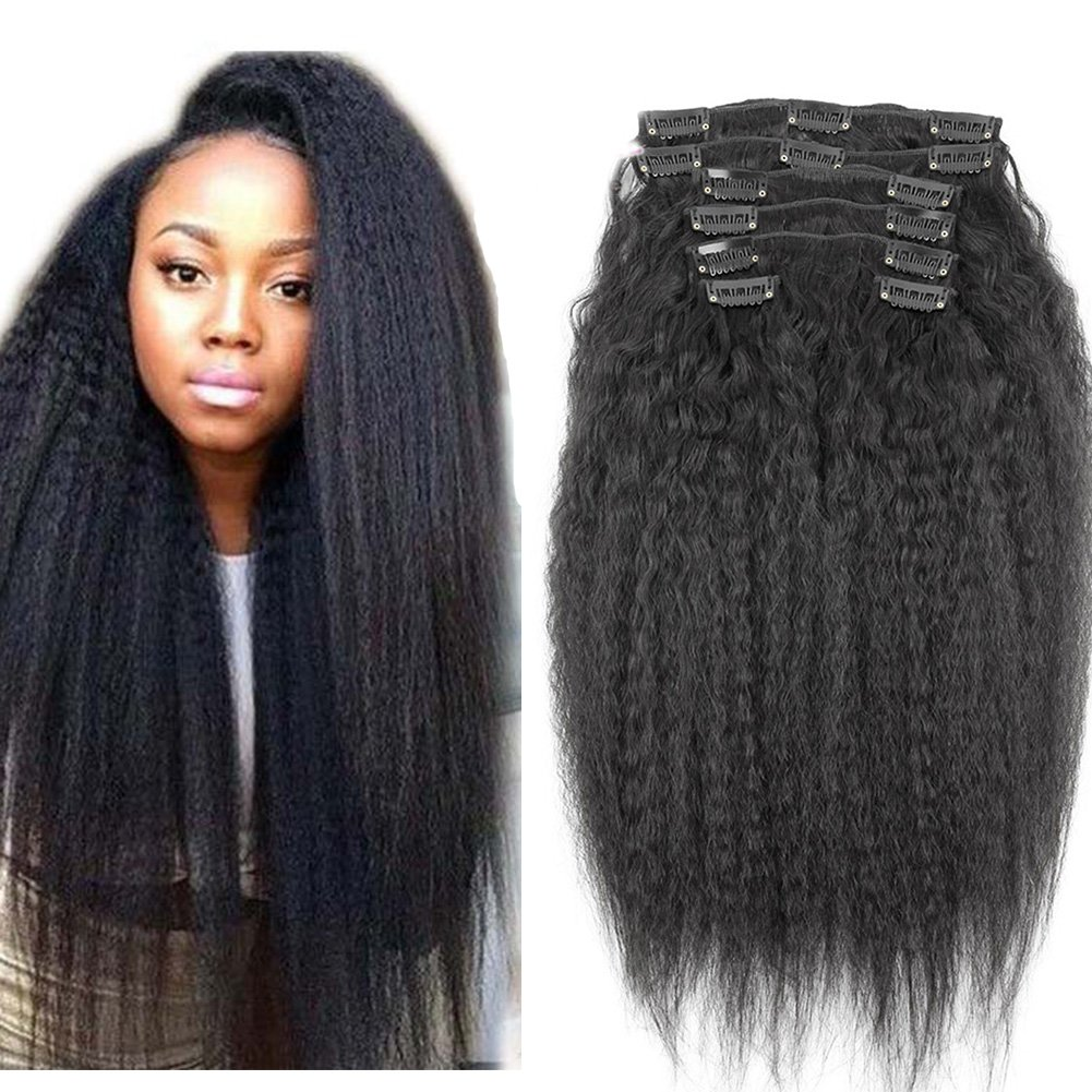 Amazon 8inch Kinky Straight Clip In Human Hair Extensions 8a