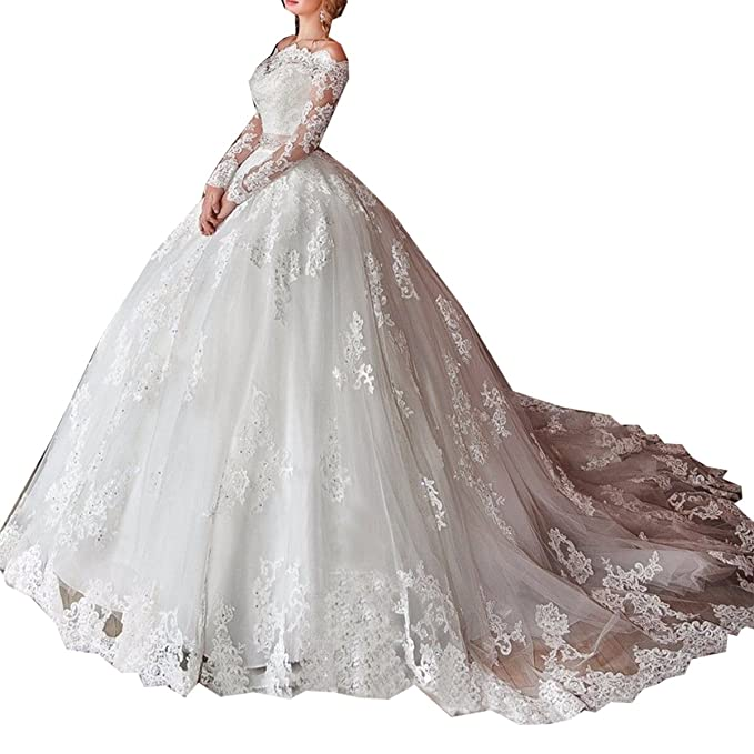 Molixin Women's Off Shoulder Long Sleeves Wedding Dress Ball Gowns Beading Luxury Elegant Bridal Gowns White,26