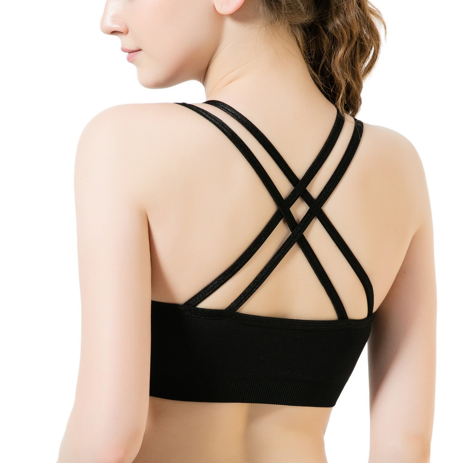 46900d851 Top3  CELERSPORT Women s Sports Bra Cross Back Medium Impact Wirefree  Workout Activewear Yoga Bras