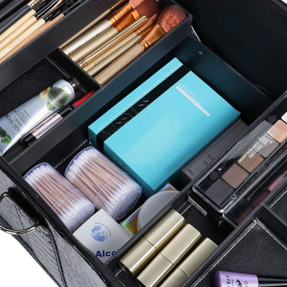 Krokos schwarz Yaheetech Beauty case Kosmetikkoffer Kulturtasche Wasserfest Kosmetiktasche mit Schultergurt