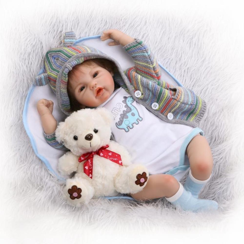 JHGFRT Realistische Reborn Baby Doll Mädchen Silikon 55 cm