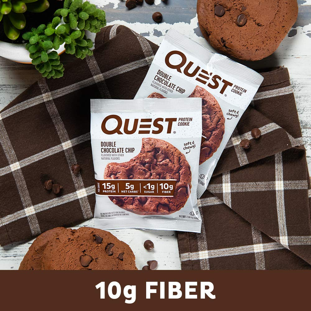 Quest Nutrition Double Chocolate Chip Protein Cookie, High Protein, Low Carb, Gluten Free, 12 Count by Quest Nutrition