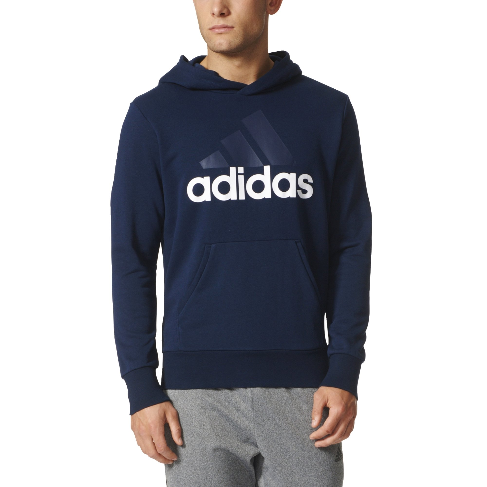adidas Men's Essential Linear Logo Pullover Hoodie, Collegiate Navy/White, XX-Large by adidas