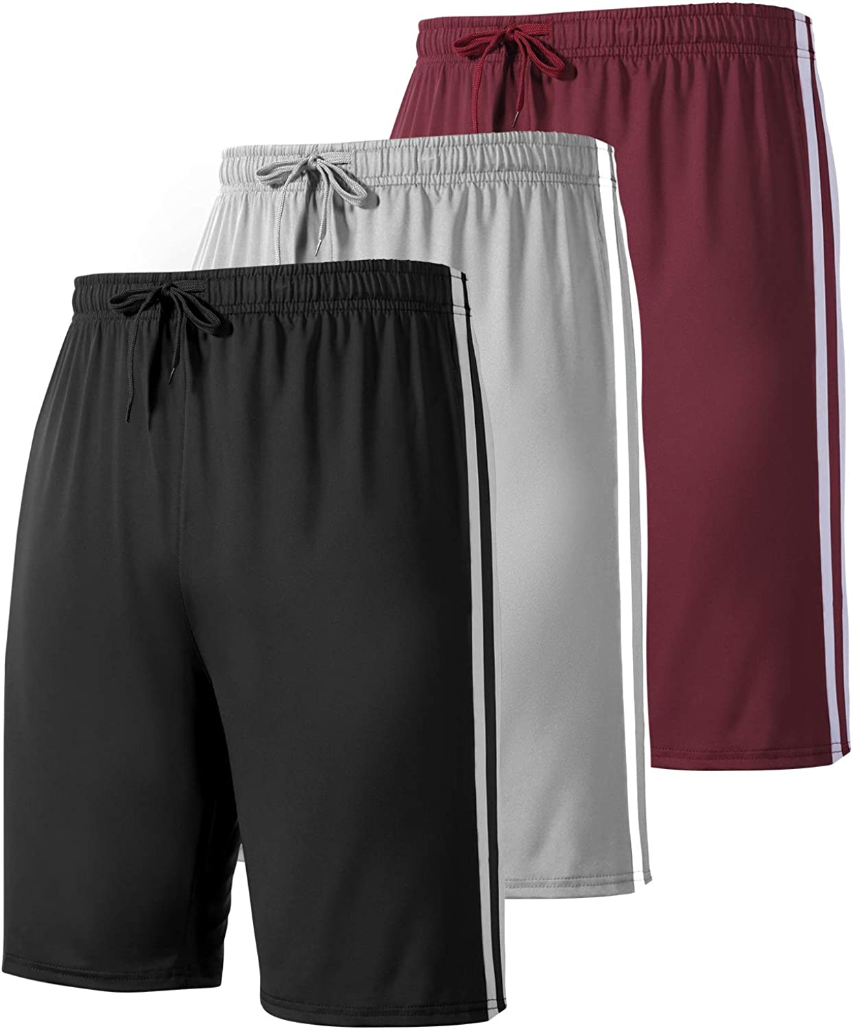 YOMOVER Athletic Shorts for Men - with Pockets 3 Pack Quick Dry Workout Gym Basketball Shorts