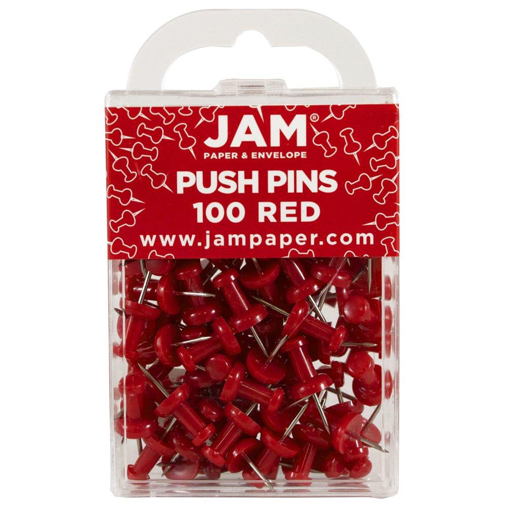 JAM Paper Push Pins / Thumb Tacks - Clear - 100 Pushpins per Pack OP-33160