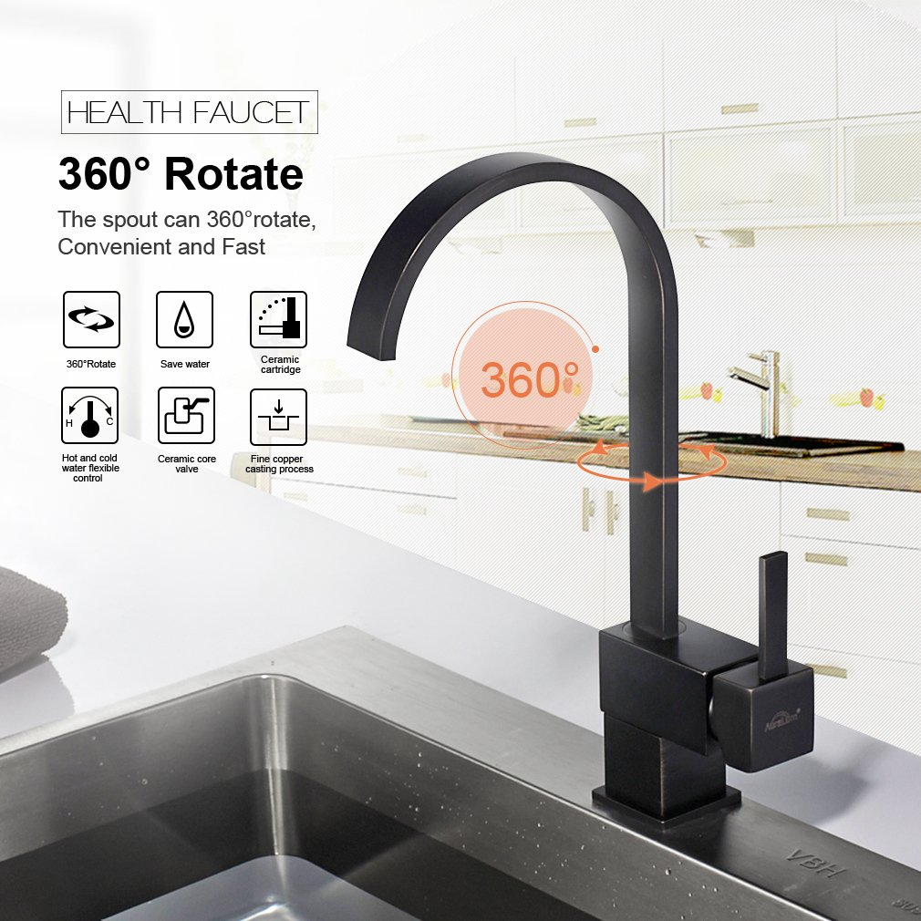 AURALUM 360 Degrees Rotate Kitchen Sink Faucets Brass Traditional ...