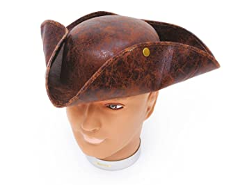 4bd631d5f07 GCC Fashion Store Men s Deluxe Ancient Look Brown Stud Tricorn Pirate Hat  Adults Fancy Dress