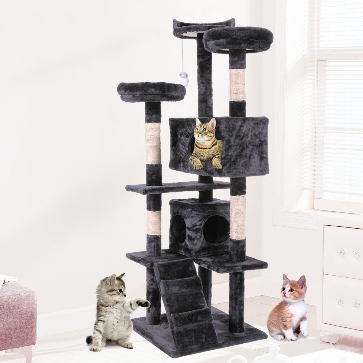 """60"""" Black Cat Activity Tree Tower Condo Furniture Scratching Post Pet Kitty Play House"""