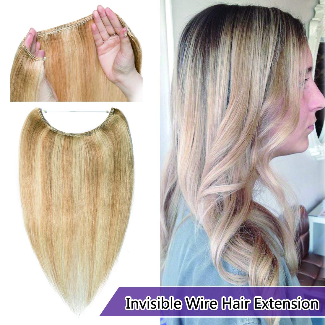 Human Hair Flip on Invisible Hidden String Crown Hair Extensions No Clips in Secret Hairpieces with Miracle Transparent Fish Line For Women #18P613 Ash Blonde&Bleach Blonde 16 inches 60g