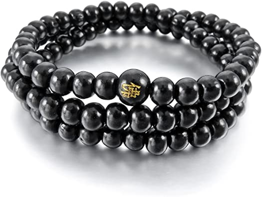 collier tibetain bois homme