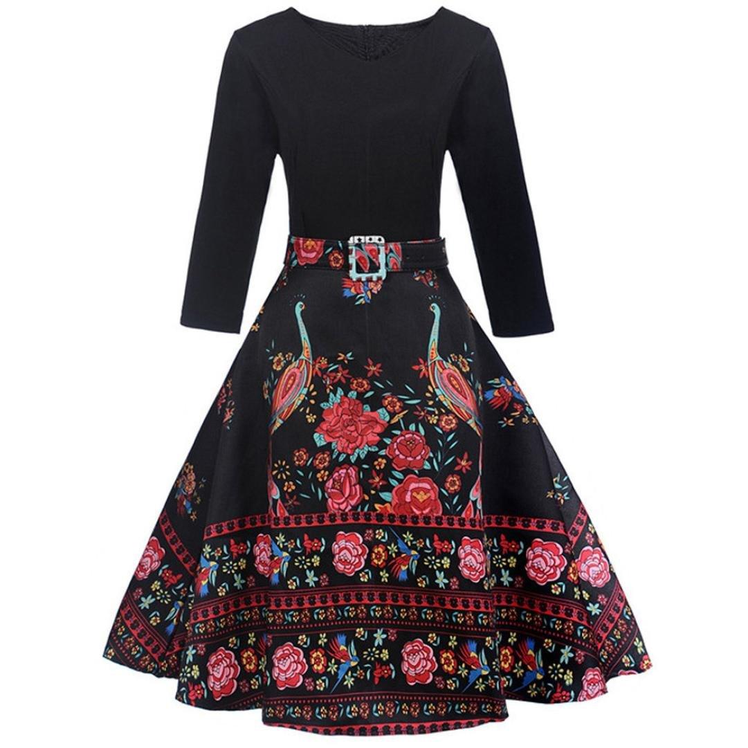 Damen Retro Kleid SUNNSEAN Frauen Rundhals Floral Drucken Sommerkleid Mode Taille Partykleider Elegante Strandkleider Schicke Festliche Großer Rock Langärmliges Kleid