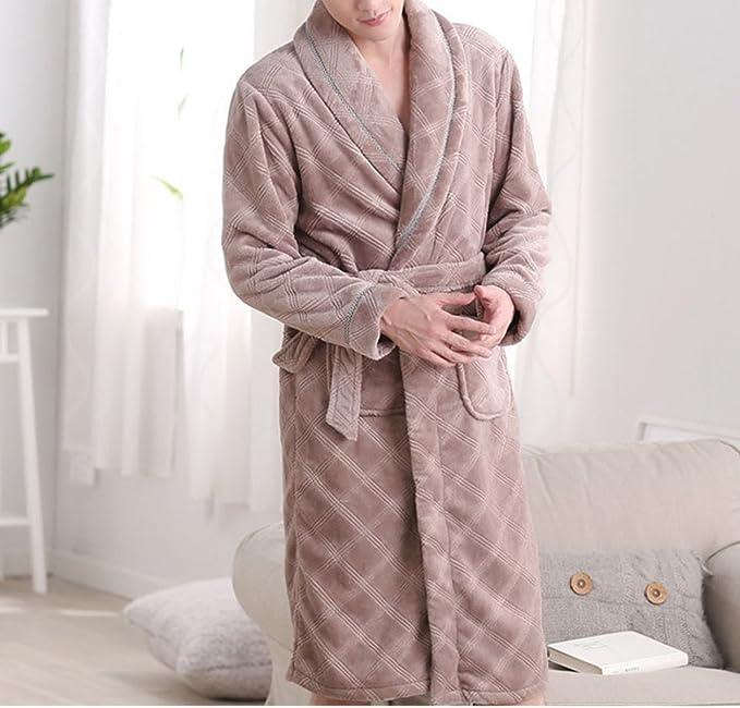 Otoño E Invierno Camisón Más Grueso Pijamas Hombres Albornoz Hogar Caliente Ropa De Manga Larga Solapa
