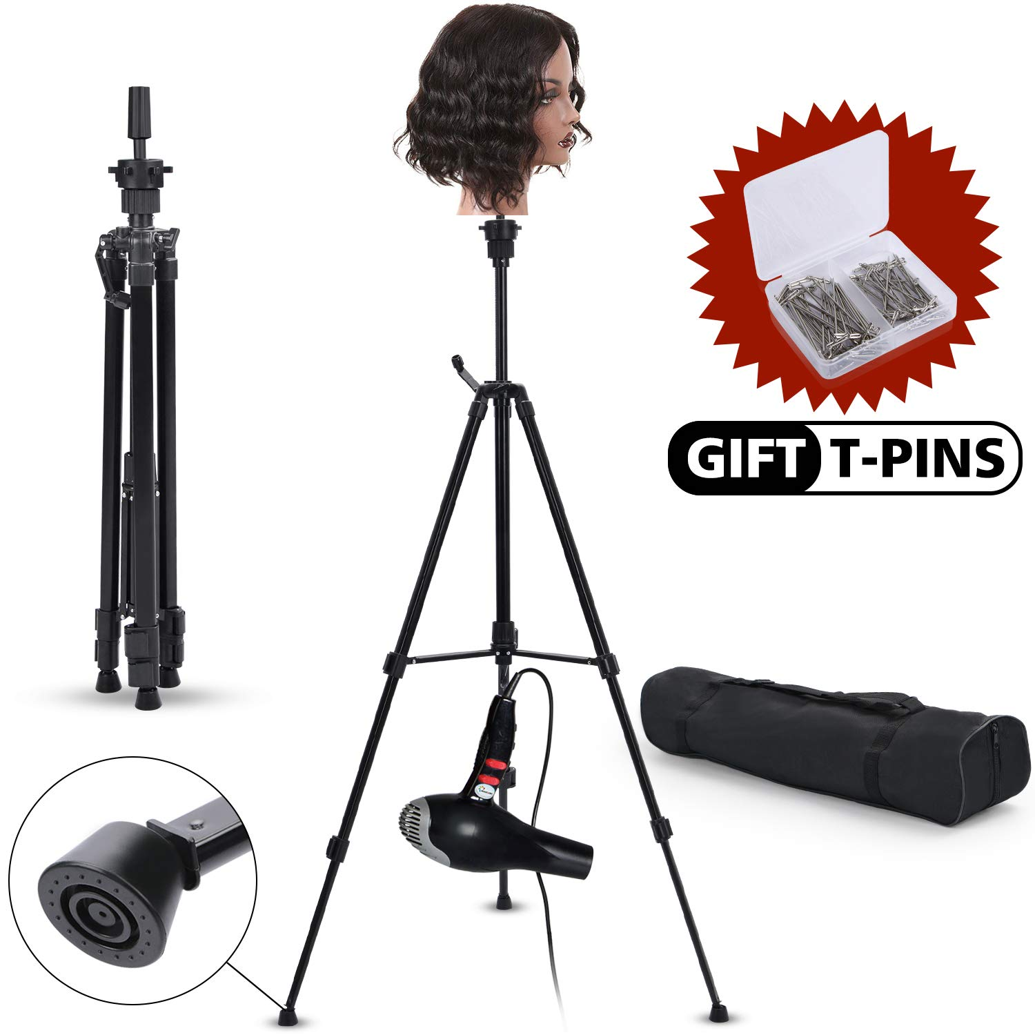 Klvied Metal Adjustable Tripod Wig Stand, Mannequin Head Holder Stand, Canvas Block Wig Head Stand for Hairdryer, Hair Salon, Hairdressing, Cosmetology Training with T-Pins, Portable Travel Bag, Black