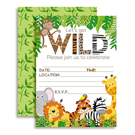 Image Unavailable Not Available For Color Lets Get Wild Jungle Animal Party