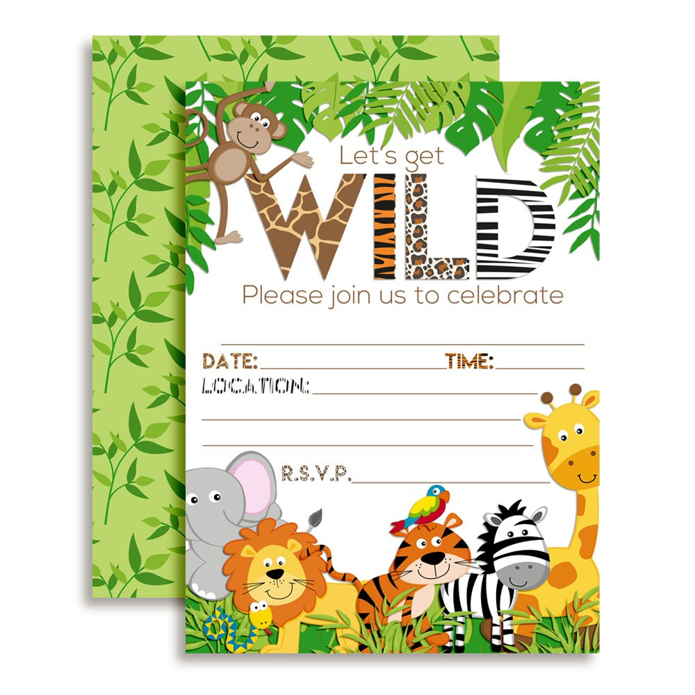 Amanda Creation Jungle Animal WILD Birthday Party Fill in Invitations set of 10 with envelopes