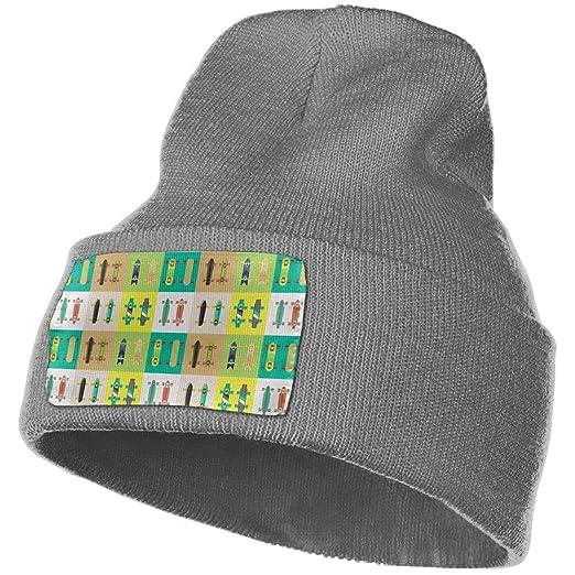 e8d687a318bf9 kigirap Colorful Skate Skateboard Winter Beanie Hat Warm Knit Cuff Toboggan  Ski Plain Skull Cap Unisex Black at Amazon Men s Clothing store