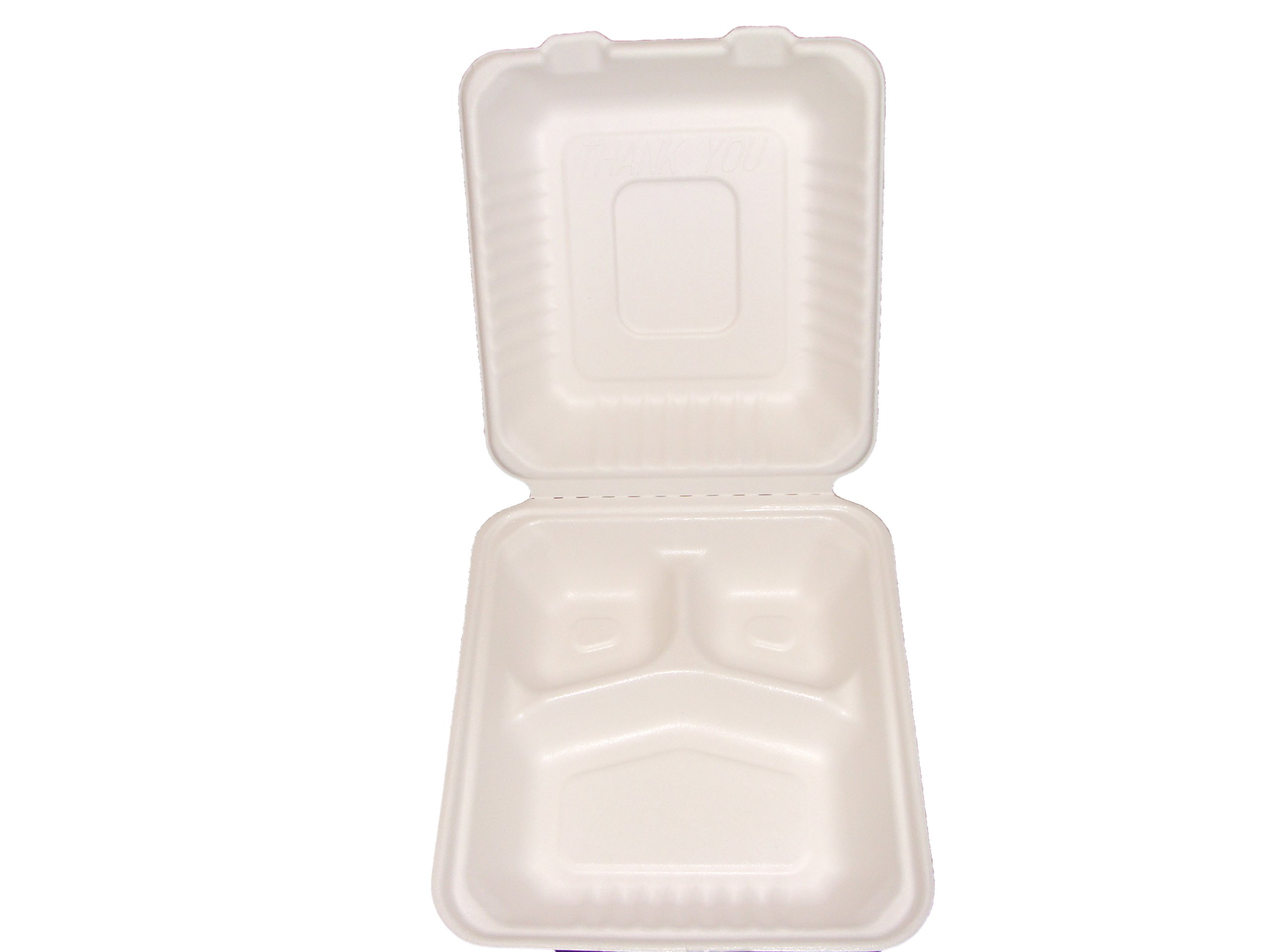 Primeware Bagasse Hinged Lid Container, Deep Medium 3-Section 7.875 x 8 x 3.19''-PLA Lined - 160/Cs (2 x 80), Not Applicable