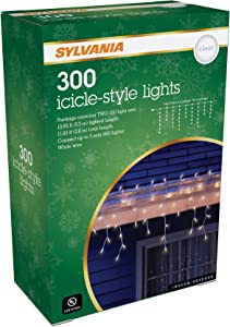 SYLVANIA Icicle Christmas Lights, Clear