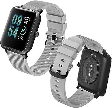 Imagen deTh-some Correa para Amazfit Bip Impermeable Universal - Reemplazo de Pulsera Ajustable para Xiaomi Huami Amazfit Bip bit Lite Youth/Amazfit GTR 42mm Watch, Gris Sin Tracker