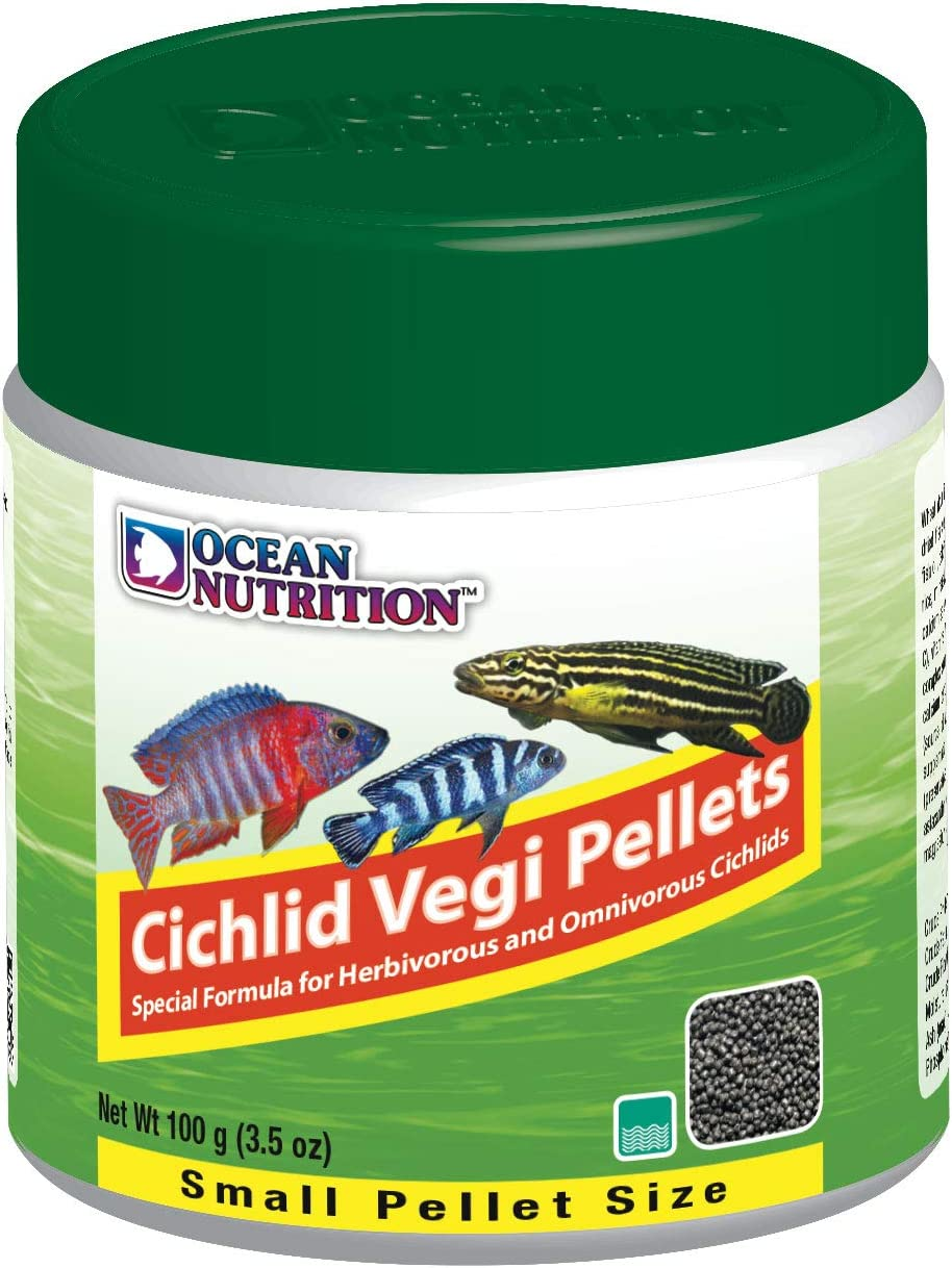 Ocean Nutrition Cichlid Vegi Pellets 3.5-Ounce (100 Grams) Jar - Small Pellet Size